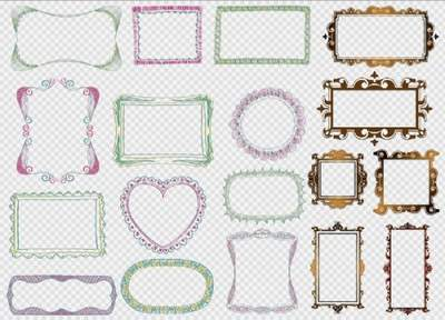 Frame Clipart PSD - Frame cutouts with patterns and gold color free download