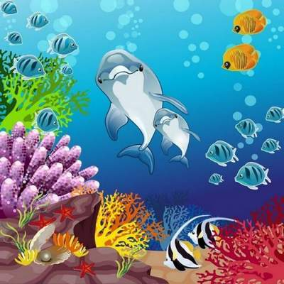 Sea Clipart psd Underwater world of dolphins free download