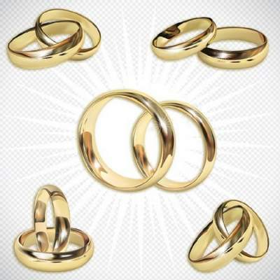Wedding rings Clipart psd - Golden wedding rings free download