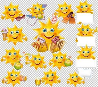 Clipart PSD - Sun with dessert on the beach free download