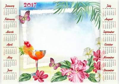 2017 Photoshop Calendar frame psd template Tropical island free download