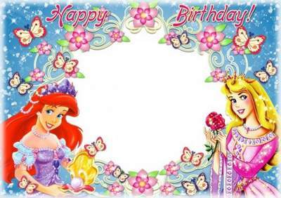 Photo frame for girls photo - Birthday with Disney princesses free download