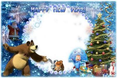 Kid's Frame - Masha and Bear Congratulate on New Year