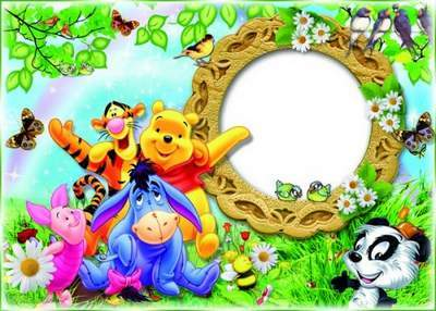 Children frame with cartoon characters - Winnie the Pooh and friends love free download