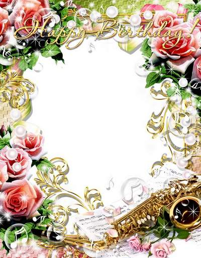 Greeting frame psd with pink roses We sing a song of happiness to you! free download