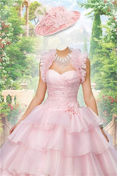 lady in pink wedding dress photoshop costume free psd template free