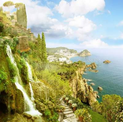 Seascapes and Terraces Photoshop Backgrounds  36 JPG free download