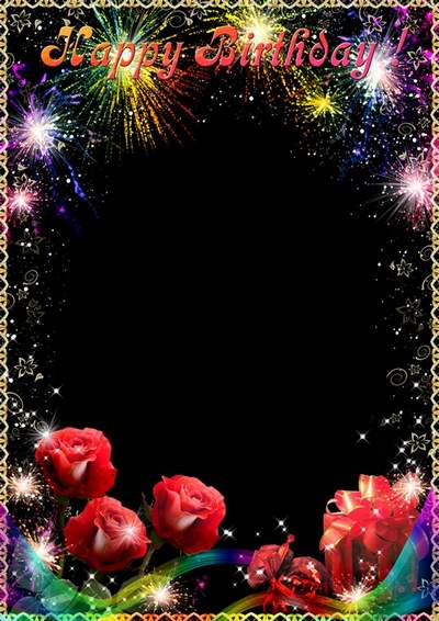 Greeting Frame for Photoshop - Fireworks for your birthday