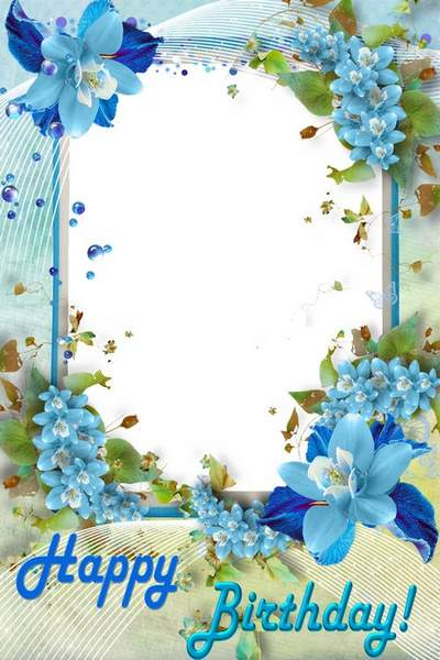 Flower picture frame Blue Bouquet for Birthday - free download