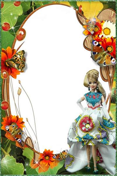 Bright baby frame for girls with Barbie doll and butterflies free download