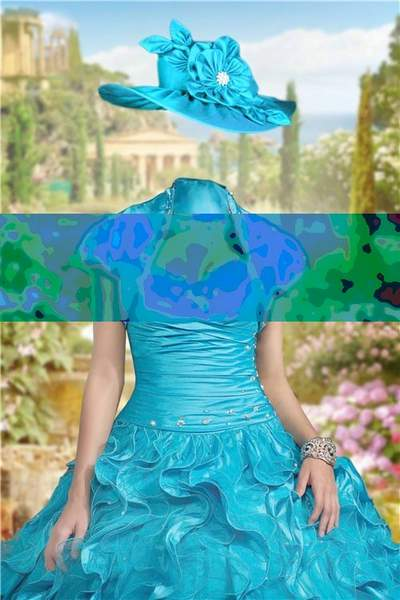 Lady in the turquoise dress Photoshop free psd template download