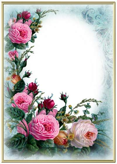 Flower photo frame free psd temlate free download