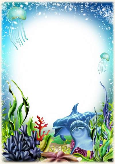 Sea frame psd download - Photoshop frame with dolphins