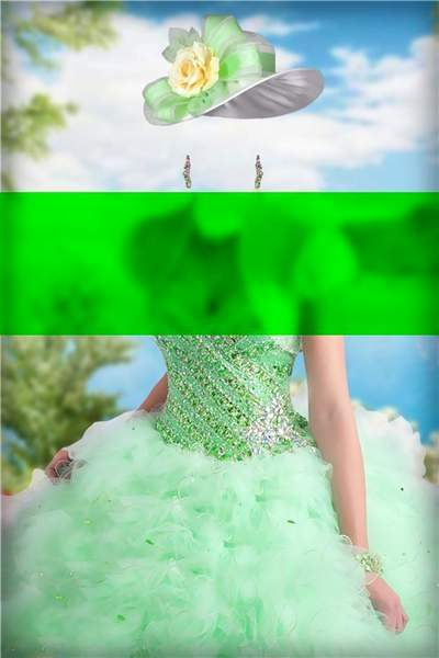 Lady in a green ball gown free Photoshop psd template download