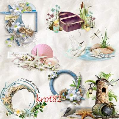 Sea Clipart PNG download - Sea, sand, boat, palm trees, flowers free png images download