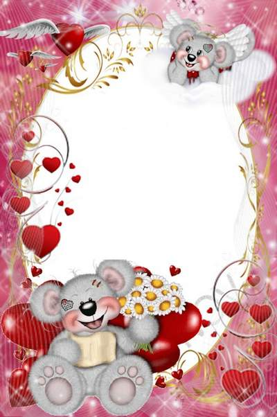 Love photoshop frame download - Happy bears free psd template