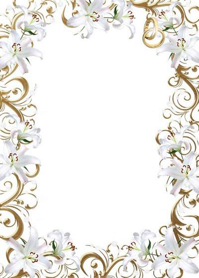 Wedding PSD Photo frame Wedding lilies free download Transparent