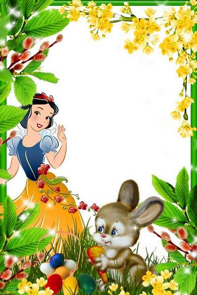 Colorful Easter frame with rabbit-Here comes the Easter rabbit ...