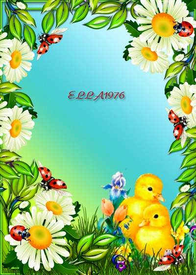 Two kids colorful frames free png download with chickens and ducks