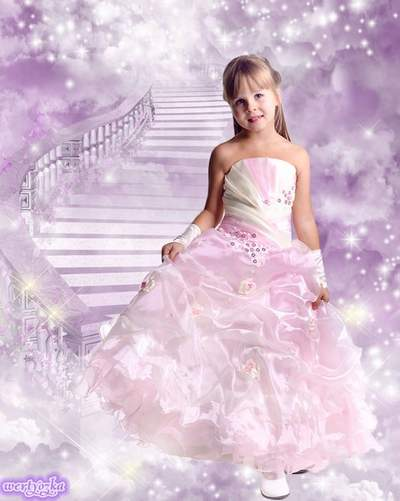 Child's photoshop template - Princess in a wonderful pink dress free download