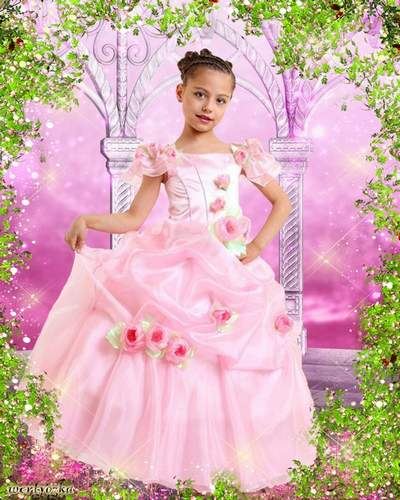 Child's psd template for a girl - In the pink dress of wonderful roses