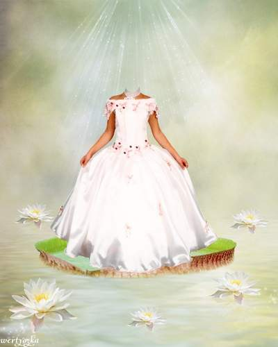 Childs psd template - Girl in a white dress among wonderful lilies