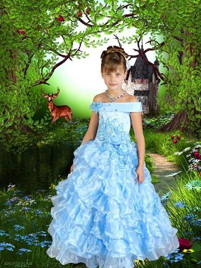 Child's template for a girl - In a good-looking blue dress on a background wonderful nature