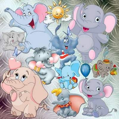 Cartoon clipart psd download -  free psd Funny elephants