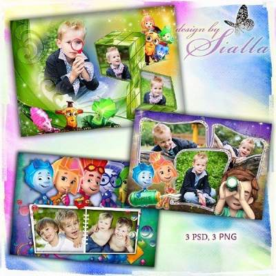 Kids collection of free photo frames download - Fixiki (3 psd frame + 3 png frame)