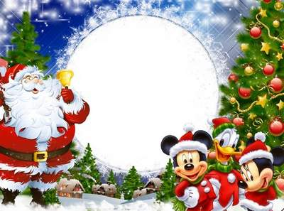 Children's Christmas frame free download - Hurry on the tree Santa Claus