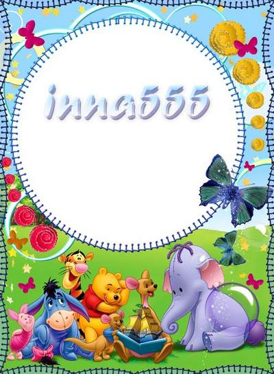 Child`s cartoon frame - Winnie and merry friendly company