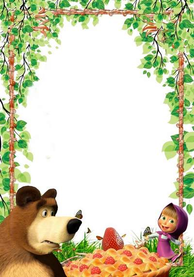 Children greeting frame with Masha and the Bear 2