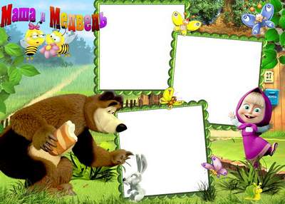 The frame with Masha and the Bear for children - A guest of The Bears