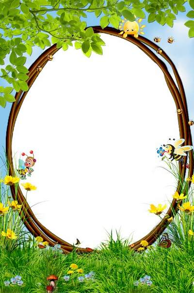 Children's summer photo frame free download - a meeting of two bees