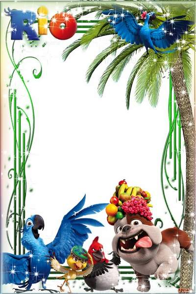 Children's frame with the heroes of the cartoon RIO free download