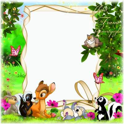 Children frame for the photo free download - Funny deer Bambi and his friends
