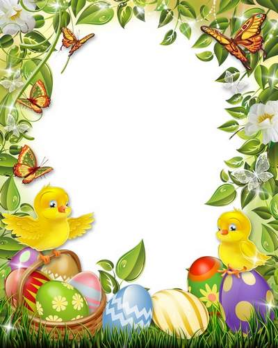 Easter frame free download - Bright, fluffy, yellow chicks