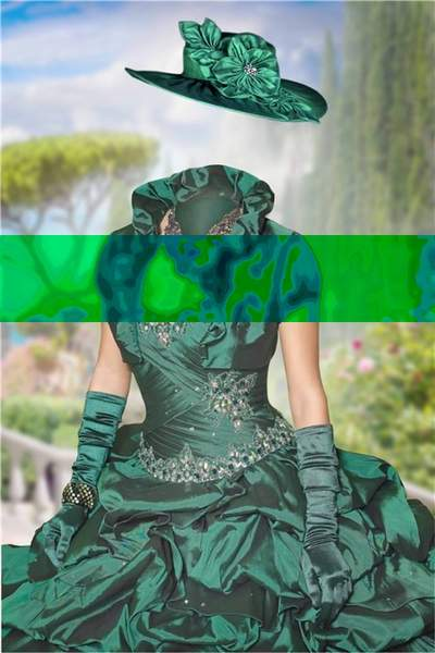 Free psd template lady in green ball gown - download