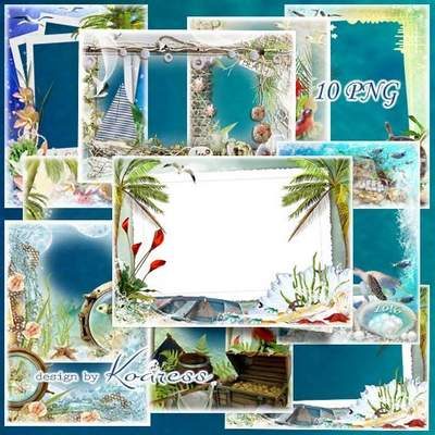 Set Summer sea frames download - 10 free png frames
