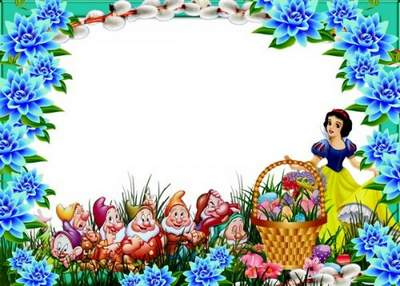 Children's Easter frame with the Disney Princesses and gnomes free download
