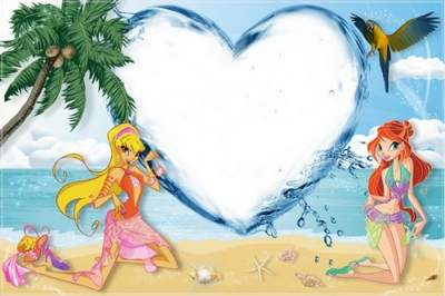 Baby Photoframe psd - Winx on the beach free download