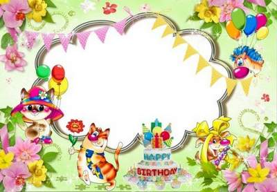Kids birthday greetings photo frame psd & png download