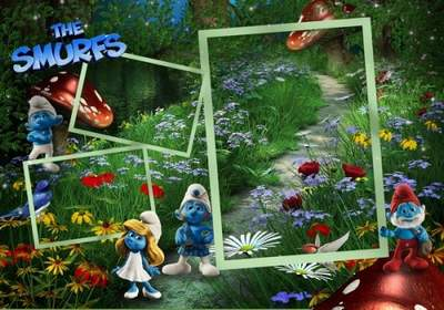 Children's Picture Frame with Smurfs on three pictures - In the wonderful wood 2