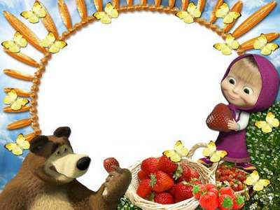 Kids Frame download - free psd photo frame with Masha and the Bear