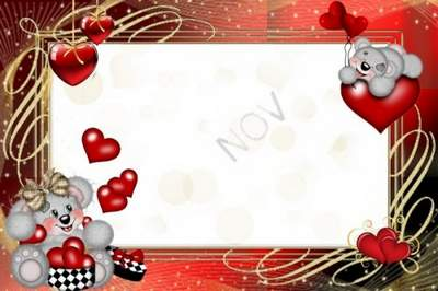 Love frame for a photo download - Enamoured bears