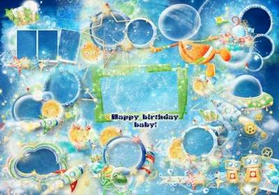 Kids Birthday frame collage download - Happy Birthday frame (for boy)