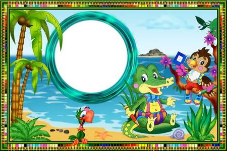 Bright children's frames for photos with fabulous beasts students