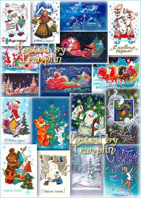 Big collection of old New Year postcards of the USSR