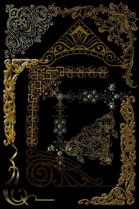Decorative clipart download - Golden Corners free psd file