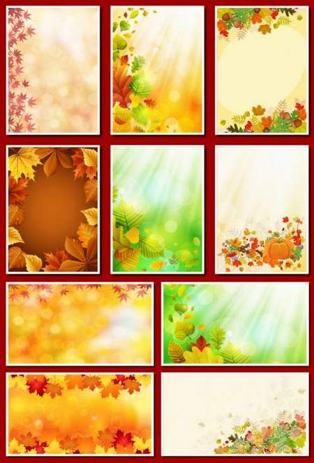Colorful autumn backgrounds download - 37 png  + 11 jpg